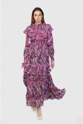 فستان رسمي منقوش مزين بدانتيل