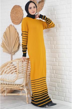 فستان طويل تريكو بلونين