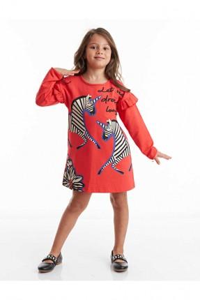 فستان اطفال بناتي مزين برسوم زيبرا