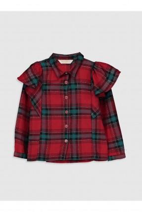 قميص اطفال بناتي كارو مزين بكشكش