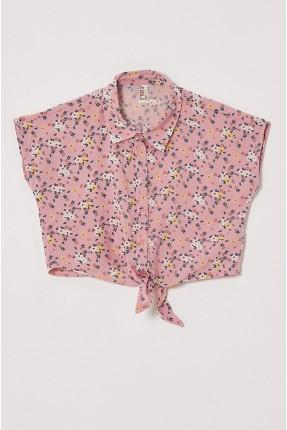 قميص اطفال بناتي مزين بنقشة زهور