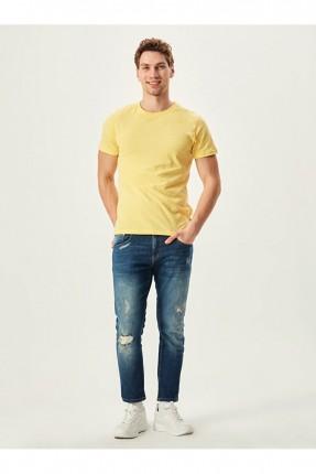 بنطال جينز رجالي مزين بكحتة