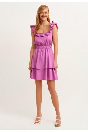 فستان قصير مزين بكشكش