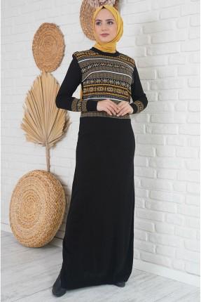فستان طويل تريكو مزين بنقشة