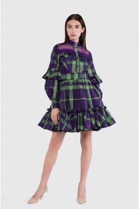 فستان رسمي قصير بنقشة كارو