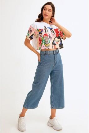بنطال جينز نسائي مزين بجيوب