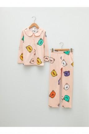 بيجاما اطفال بناتي بياقة موديل قميص