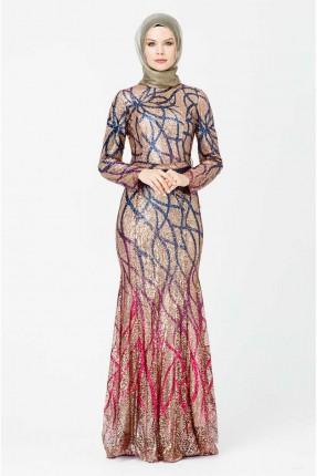فستان رسمي مزين بخطوط ملونة