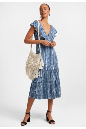 فستان مخطط مزين بكشكش
