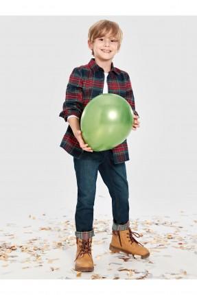 بنطال اطفال ولادي جينز بزر مخفي