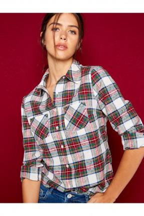 قميص نسائي كارو مزين بنقشة