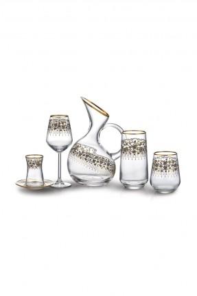 طقم زجاج فاخر للشرب - 31 قطعة