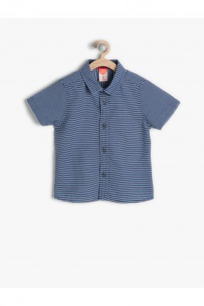 قميص ولادي مخطط - كحلي