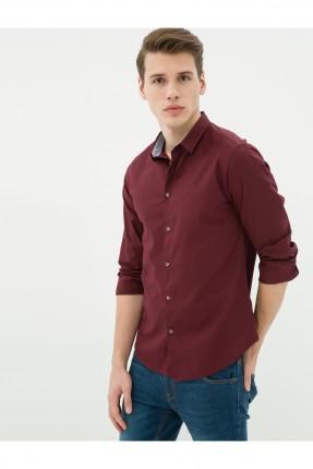 قميص رجالي - خمري