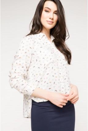 قميص نسائي قصير - ابيض