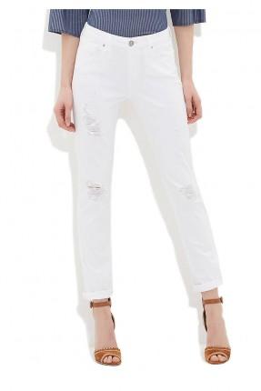 بنطال جينز نسائي - ابيض