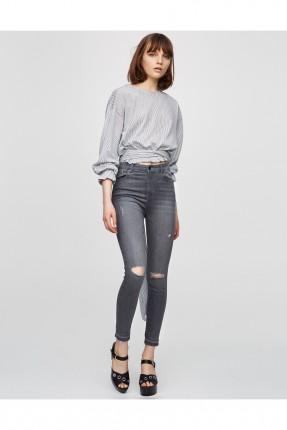 بنطال جينز نسائي - رمادي
