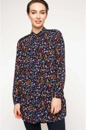 قميص نسائي طويل مورد - كحلي