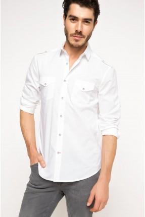 قميص رجالي مع جيب - ابيض