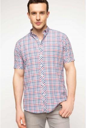 قميص رجالي نصف كم كارو ناعم - خمري