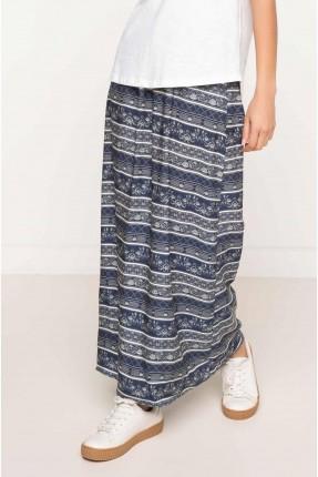 تنورة طويلة مقلمة بالعرض - ازرق داكن