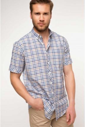 قميص رجالي نصف كم كارو ناعم
