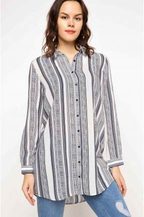 قميص نسائي طويل مقلم بالطول