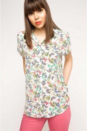 قميص نسائي نص كم بطبعة الفراشات