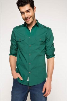قميص رجالي مع جيبتين - اخضر