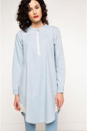 قميص نسائي دانتيل على الاطراف - ازرق