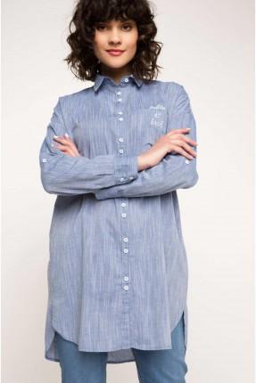 قميص نسائي طويل - ازرق