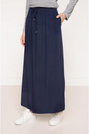 تنورة سبور طويلة بحزام - ازرق داكن