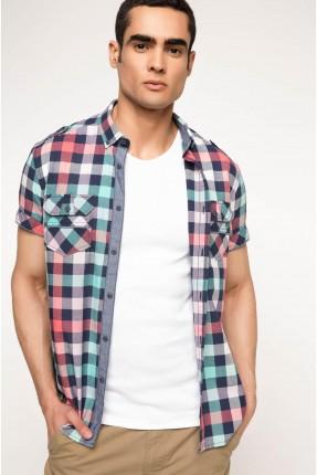 قميص رجالي نصف كم كارو - وردي
