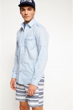 قميص رجالي مع جيب - ازرق فاتح