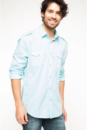 قميص رجالي مع جيب -  تركواز فاتح