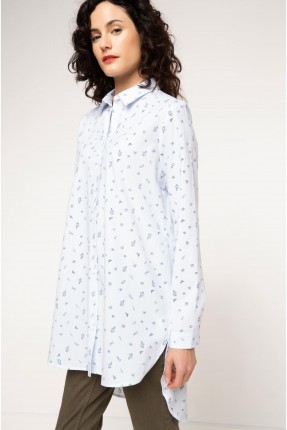 قميص نسائي طويل منقش - ازرق