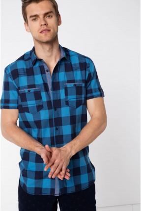 قميص رجالي نصف كم بوبلين - ازرق