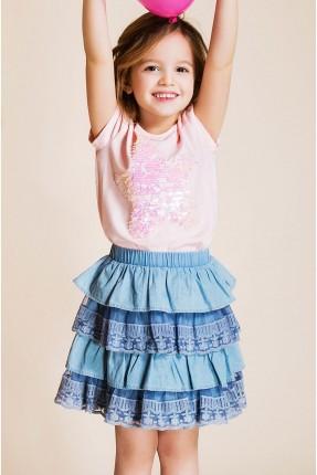 تنورة اطفال مكشكش - ازرق