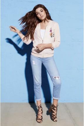بنتاكور جينز نسائي برقعات براقة - ازرق فاتح