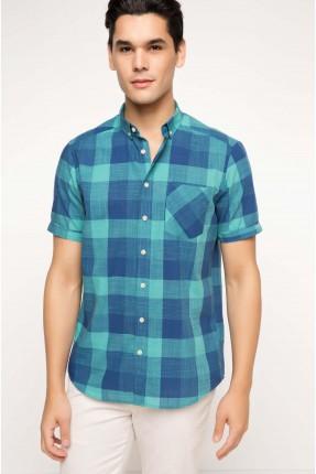قميص رجالي كارو - ازرق داكن