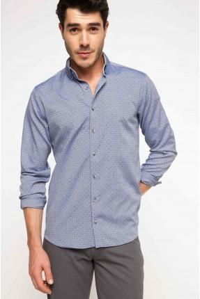 قميص رجالي منقوش - ازرق