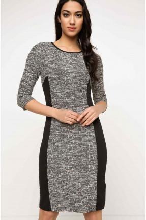 فستان سبور منقش  - اسود