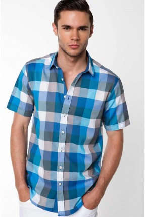 قميص رجالي نصف كم كارو - تركواز