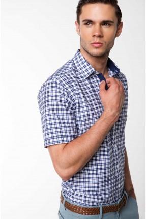 قميص رجالي نصف كم كارو - ازرق