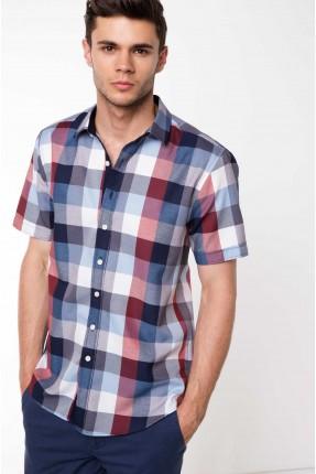 قميص رجالي نصف كم كارو - خمري