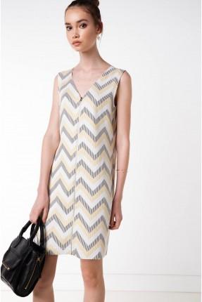فستان سحاب  بنقشة كسرات - ابيض