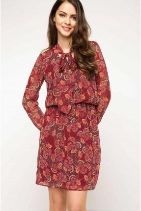 فستان ياقة ربط وخصر مزموم - خمري