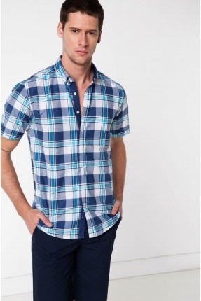 قميص رجالي نصف كم كارو - نيلي