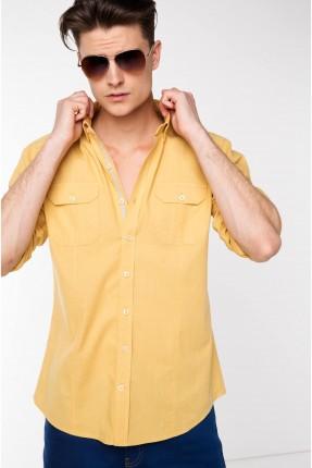 قميص رجالي بوبلين - اصفر
