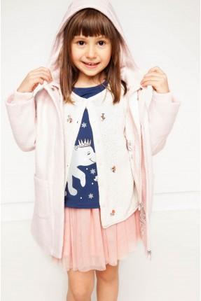معطف بناتي مع كبيشون - وردي